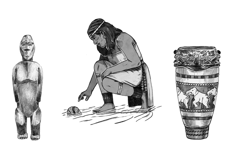 'The Elf Stone','The First Kingfisher' and 'The Elephant Drum' illustrated by Joe Lillington