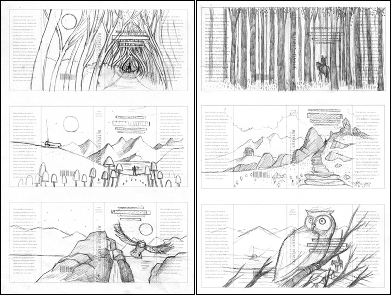 Cover roughs by Frances Castle for Between Worlds