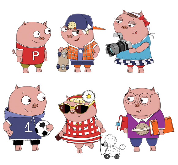 Character designs for NatWest's Pigby & Friends animation