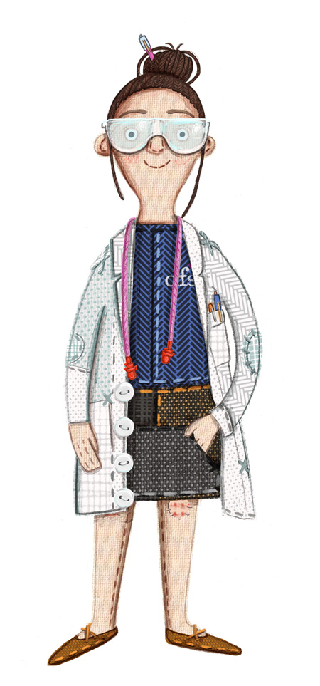 Dawn in a lab coat illustrated by Kristyna Litten for DFS The Big Sofa Test #sofaexperts