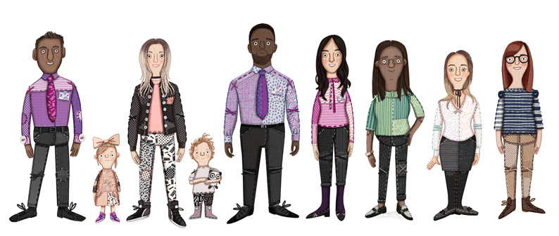 character designs by Kristyna Litten for DFS Summer Sale 2017