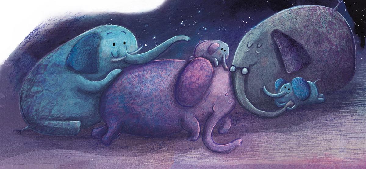 Elephants sleeping