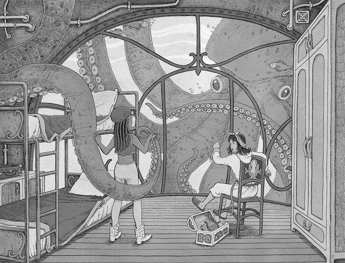 Inside illustration by Tomislav Tomic for The Ocean Squid Explorers' Club