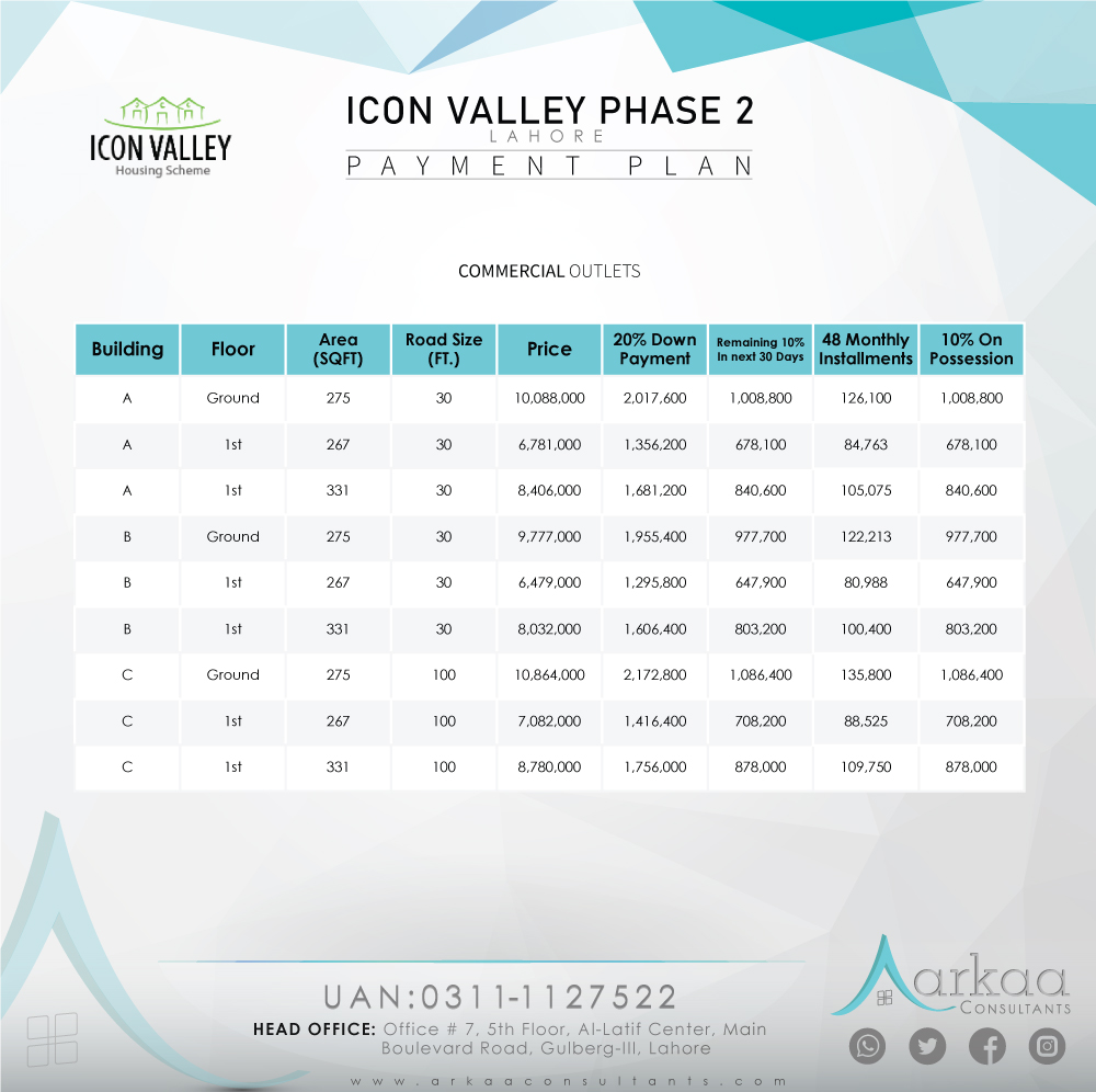 Icon Valley Phase 2 payment plan 1