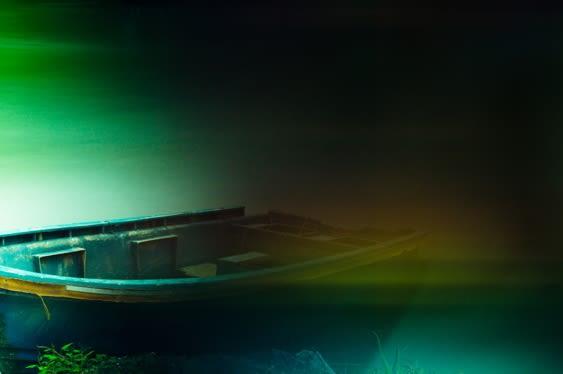 misty boat