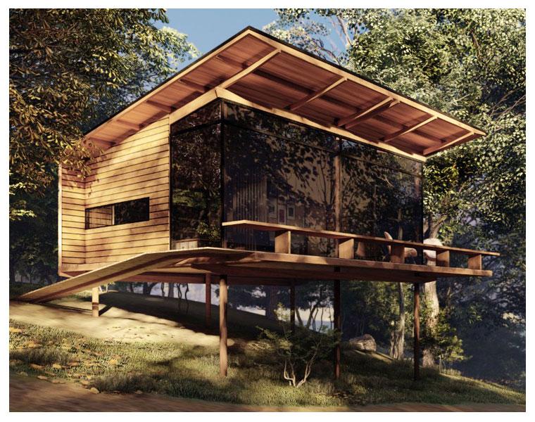 Projetos de cabanas pelo Estúdio Okko