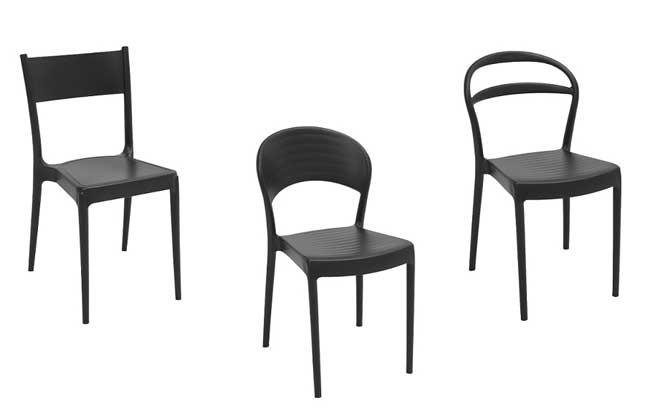 Cadeiras com resina pós-consumo