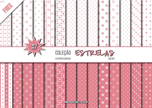 8fd2c3545da Papel Digital Estrelas Rosa Grátis - Arquivos De Corte Silhouette