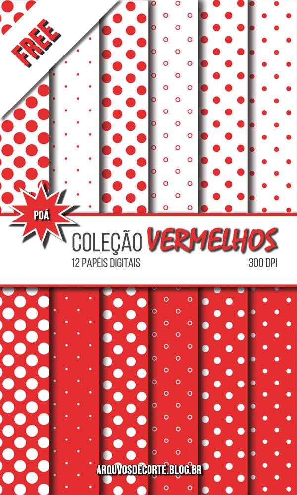 cd6acdd92e9 GRÁTIS  - Papel Digital Vermelho Poá - 12 Papéis Free