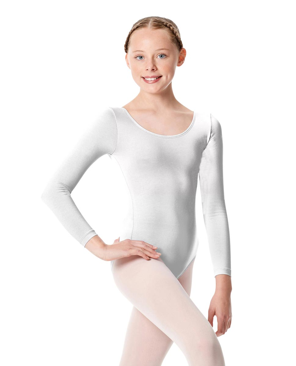 Child Long Sleeve Dance Leotard Martha WHI