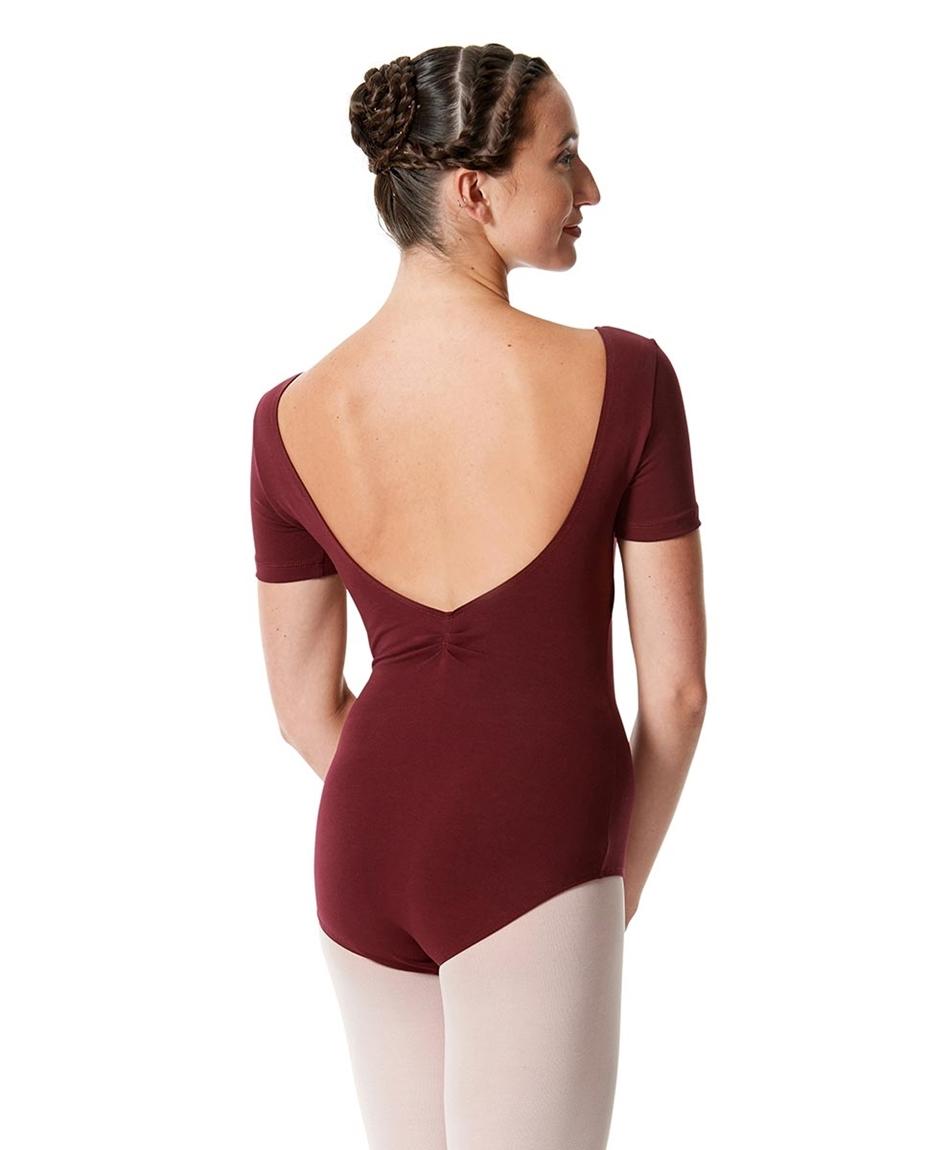 Womens Pinch Front Short Sleeve Dance Leotard Michaela back