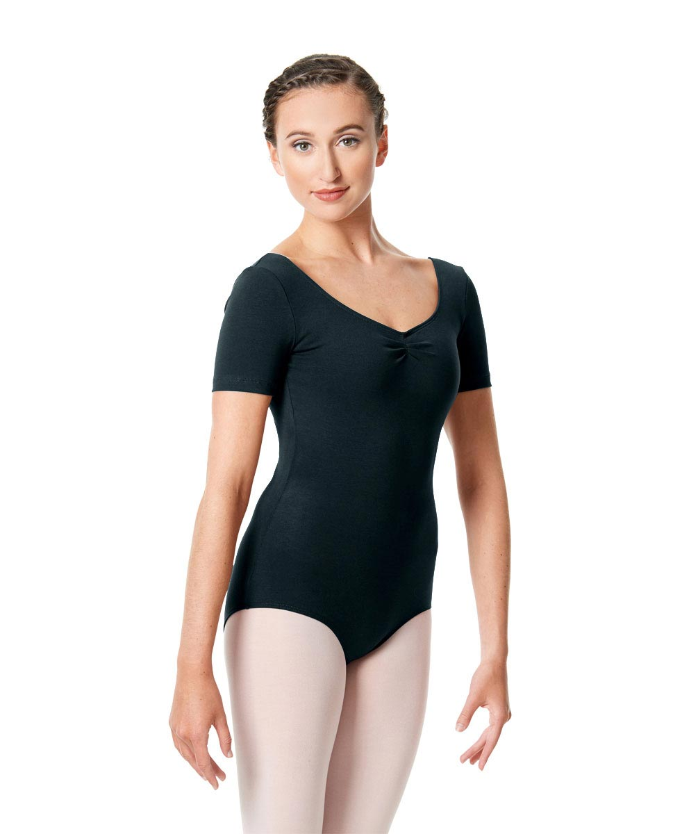 Womens Pinch Front Short Sleeve Dance Leotard Michaela MIDNAY