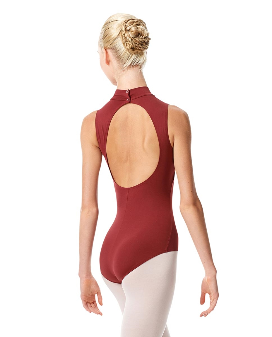 Womens Mock Neck Dance Leotard Belina back-womens-mock-neck-dance-leotard-belina