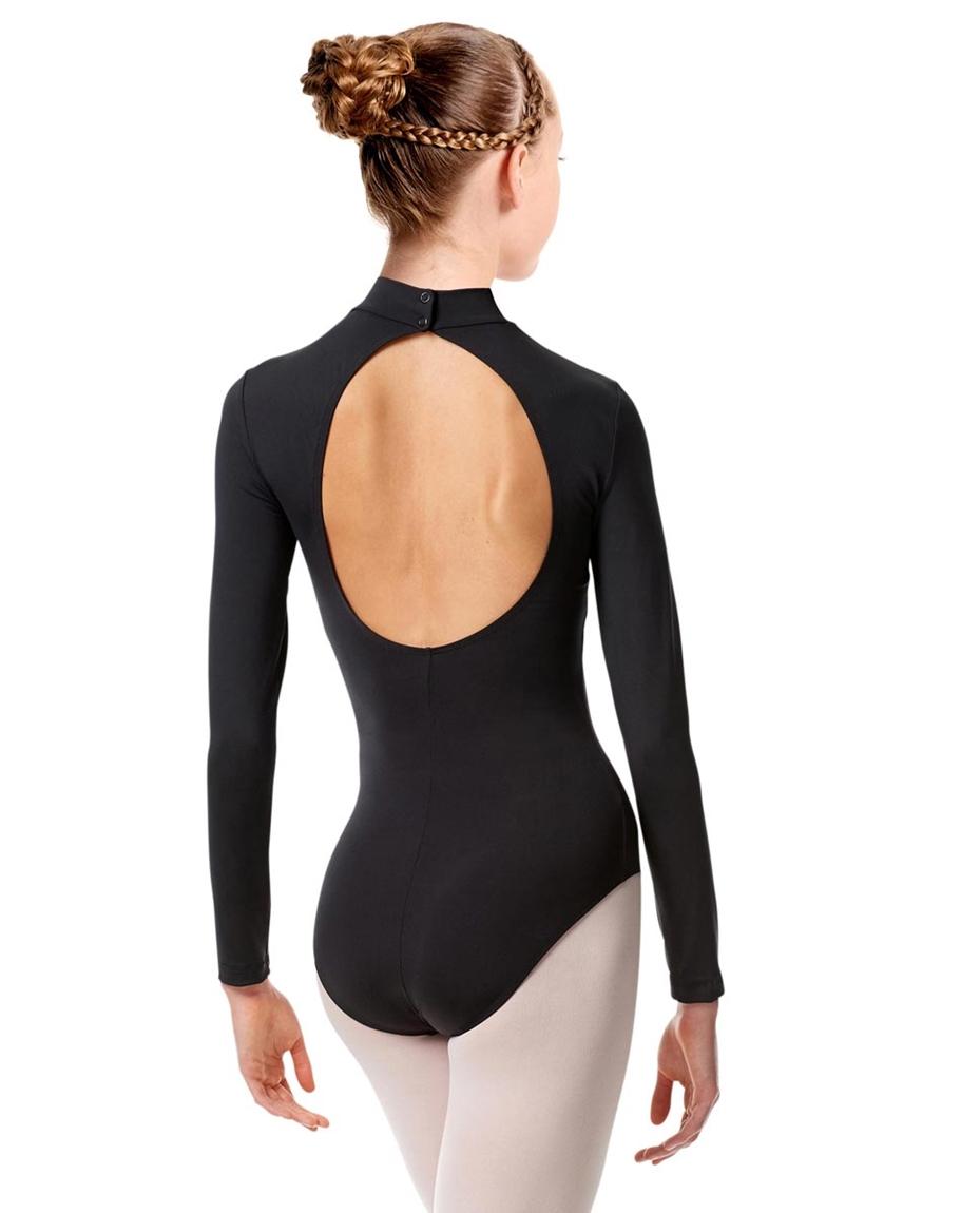Girls Mock Neck Long Sleeve Dance Leotard Liana back-girls-mock-neck-long-sleeve-dance-leotard-liana