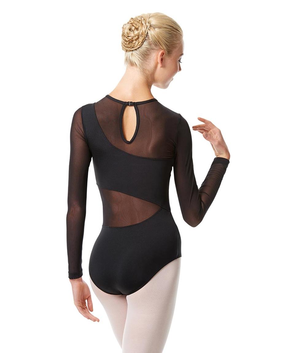 Womens Long Sleeve Mesh Dance Leotard Arabella back-womens-long-sleeve-mesh-dance-leotard-arabella