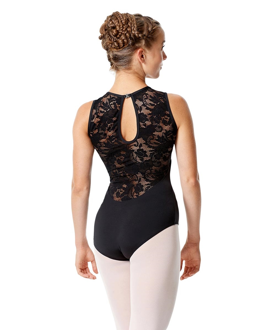 High Neck Lace Leotard Olga back-womens-high-neck-lace-dance-leotard-olga