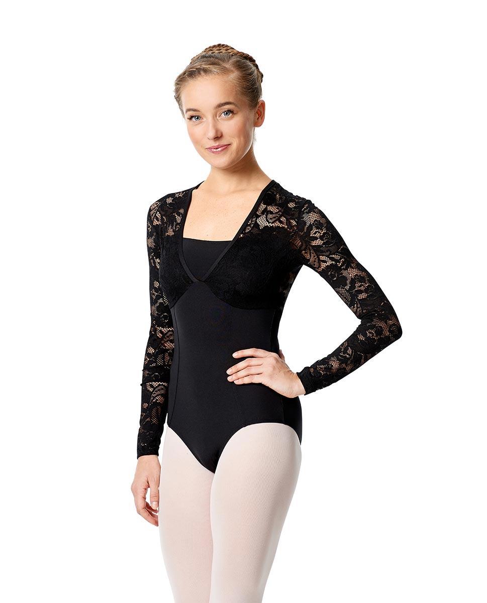 Womens Long Sleeve Lace Dance Leotard Jojo BLK