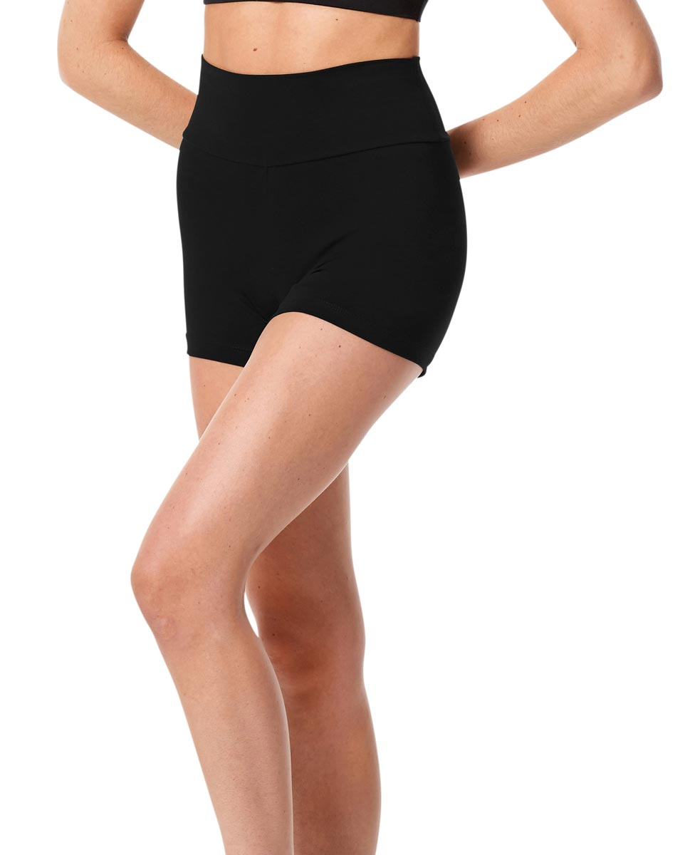 Adult Wide Waistband Dance Shorts Janet BLK
