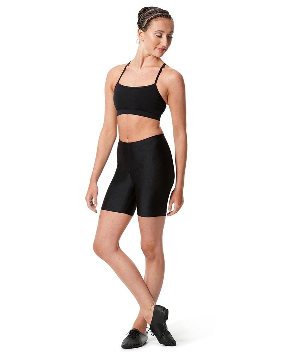 Adult Shiny Dance Shorts Janelle back