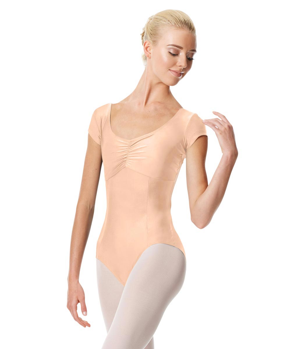 Pinch Front Cap Sleeve Dance Leotard Dinara PEAC