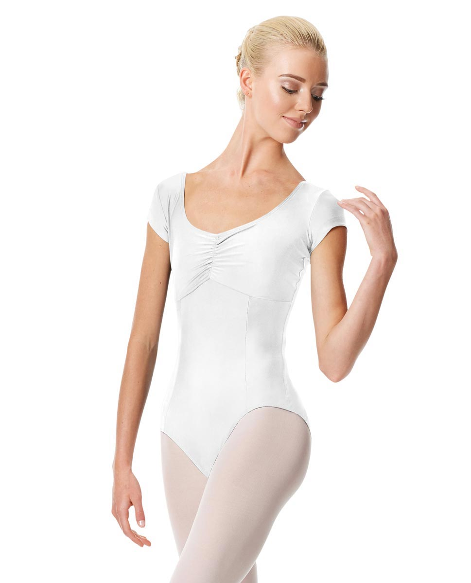 Pinch Front Cap Sleeve Dance Leotard Dinara WHI