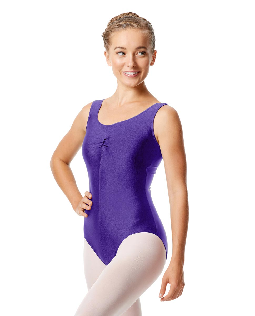 Womens Shiny Pinch Front Tank Ballet Leotard Eleonore PUR