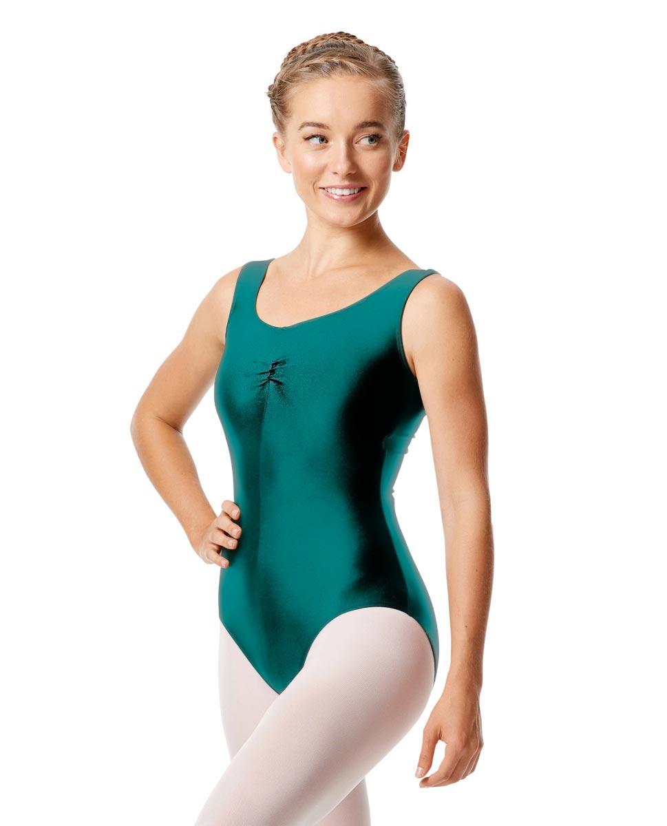 Womens Shiny Pinch Front Tank Ballet Leotard Eleonore TEA