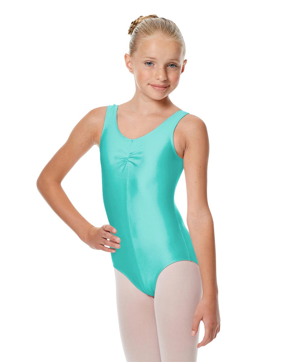Girls Shiny Pinch Front Ballet Leotard Eleonore ABLU