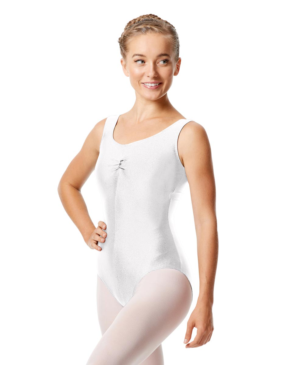 Womens Shiny Pinch Front Tank Ballet Leotard Eleonore WHI