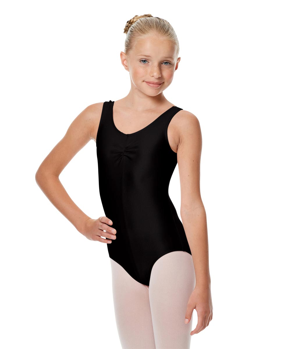 Girls Shiny Pinch Front Ballet Leotard Eleonore BLK
