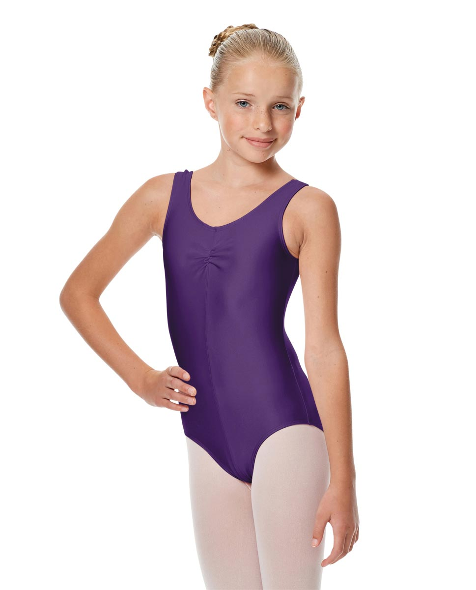 Girls Shiny Pinch Front Ballet Leotard Eleonore PUR