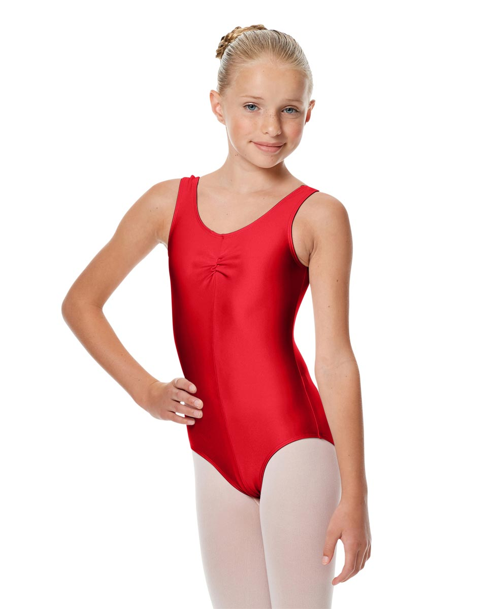 Girls Shiny Pinch Front Ballet Leotard Eleonore RED