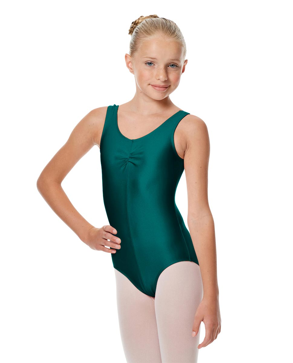Girls Shiny Pinch Front Ballet Leotard Eleonore TEA