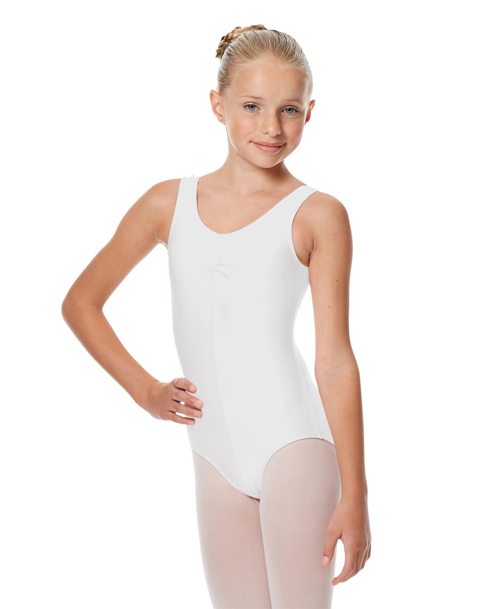 Girls Shiny Pinch Front Ballet Leotard Eleonore WHI