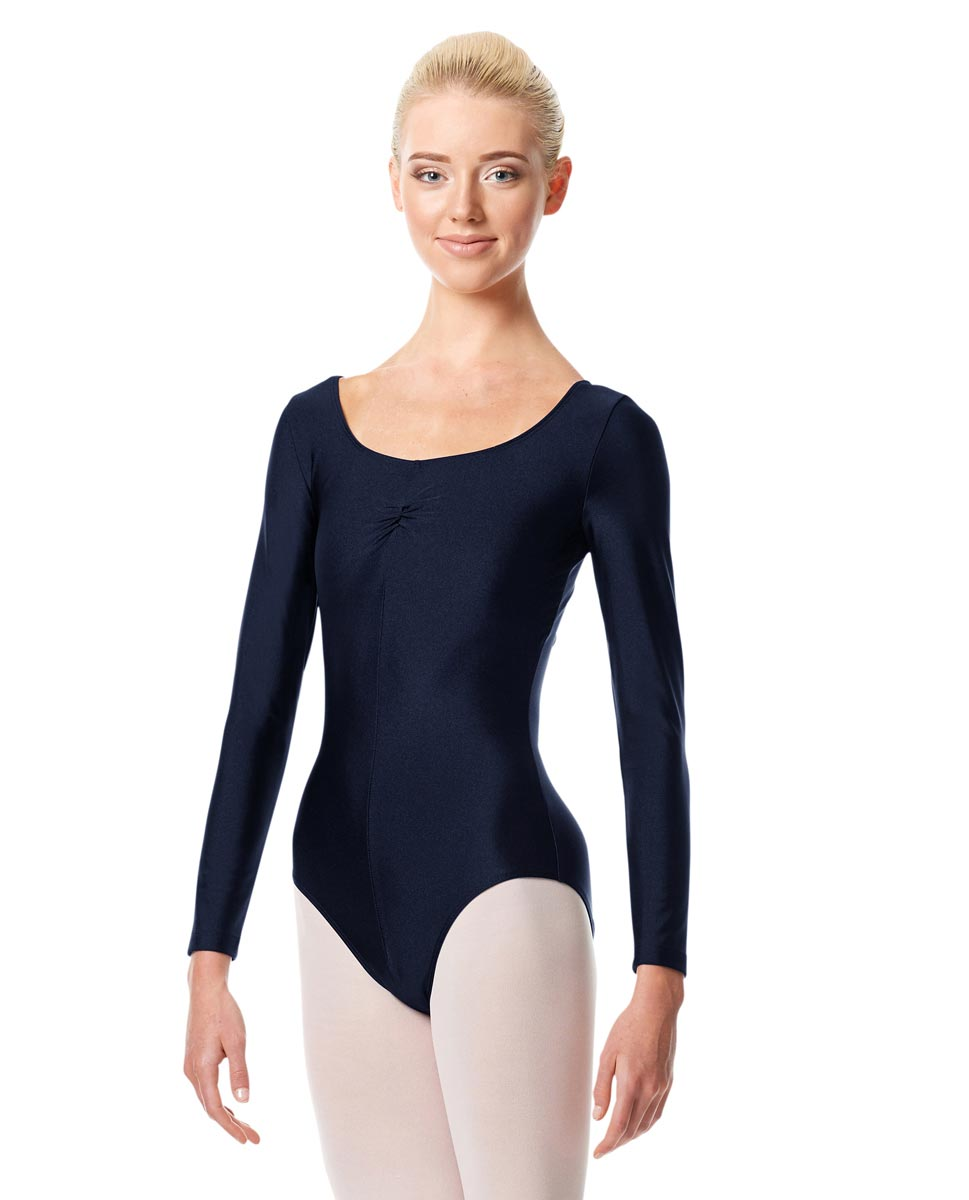 Shiny Long Sleeve Pinch Front Leotard Giselle NAY