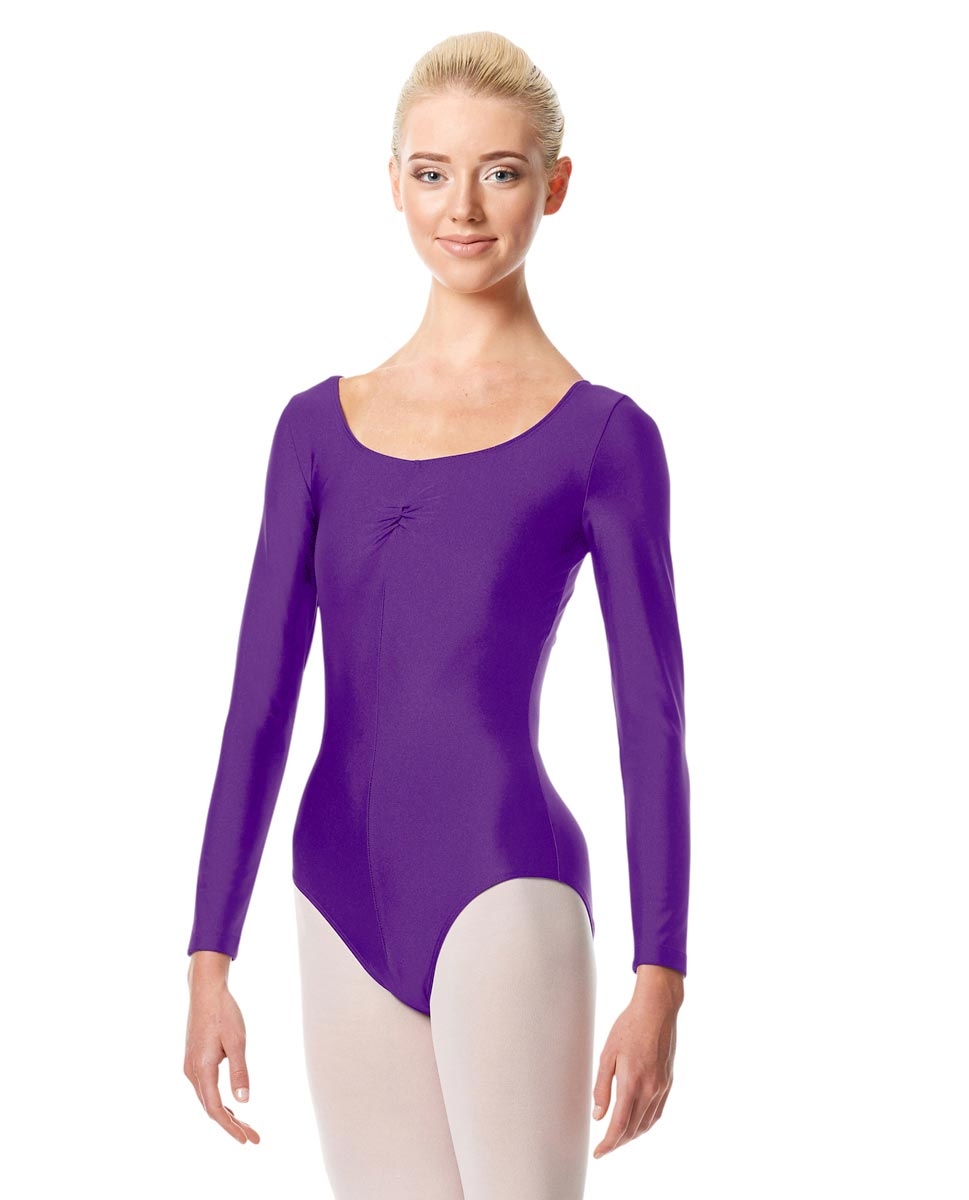 Shiny Long Sleeve Pinch Front Leotard Giselle PUR