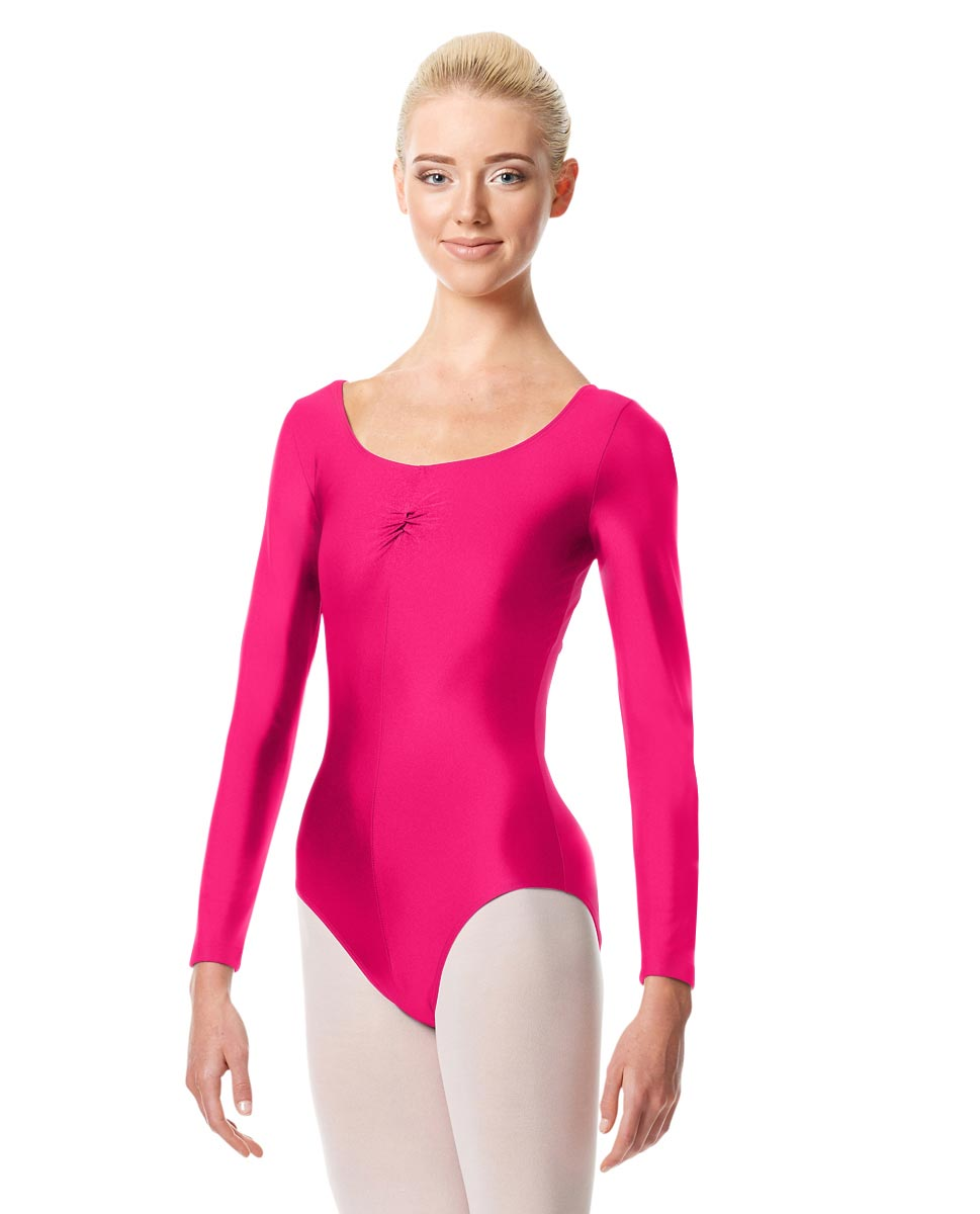 Shiny Long Sleeve Pinch Front Leotard Giselle RAS