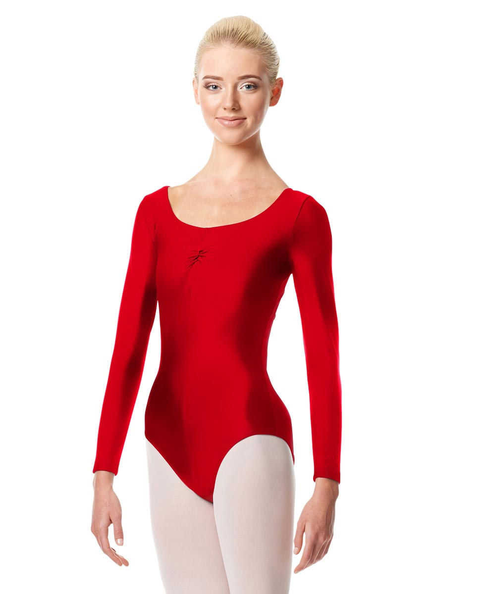 Shiny Long Sleeve Pinch Front Leotard Giselle RED