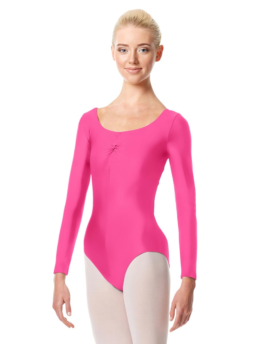 Shiny Long Sleeve Pinch Front Leotard Giselle ROS