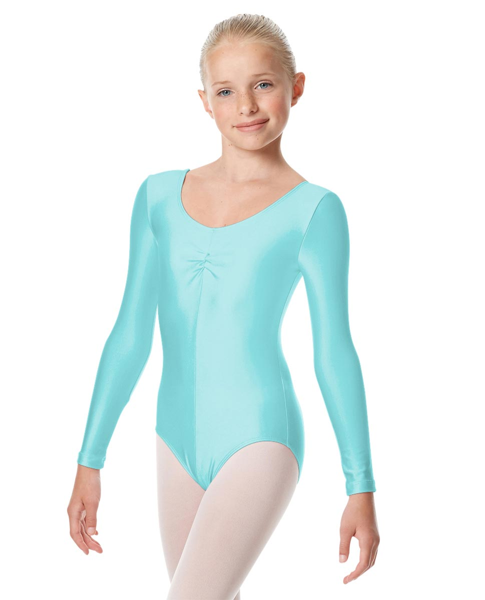 Child Shiny Long Sleeve Pinch Front Ballet Leotard Giselle ABLU