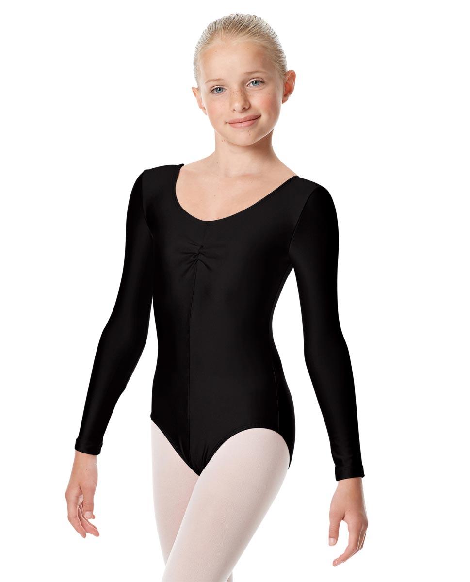 Child Shiny Long Sleeve Pinch Front Ballet Leotard Giselle BLK
