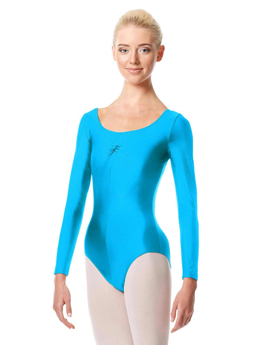 Shiny Long Sleeve Pinch Front Leotard Giselle TUR