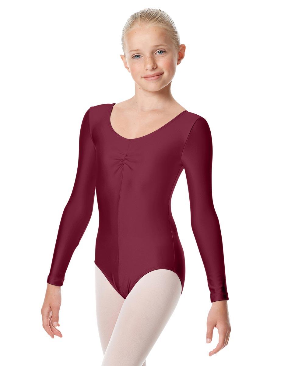 Child Shiny Long Sleeve Pinch Front Ballet Leotard Giselle BUR