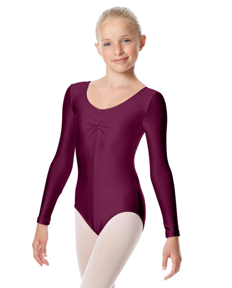 Child Shiny Long Sleeve Pinch Front Ballet Leotard Giselle EGG
