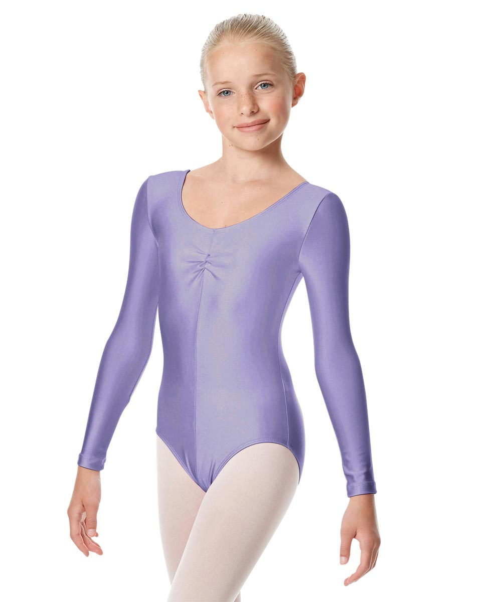 Child Shiny Long Sleeve Pinch Front Ballet Leotard Giselle LIL