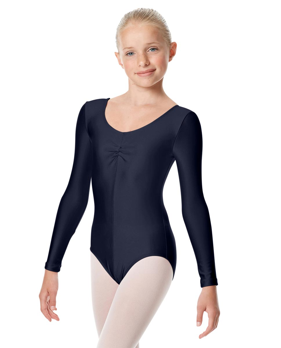 Child Shiny Long Sleeve Pinch Front Ballet Leotard Giselle NAY