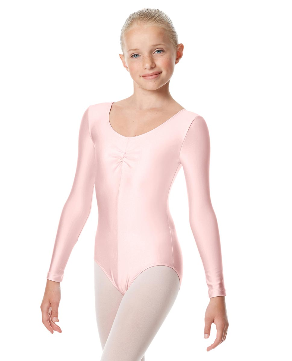 Child Shiny Long Sleeve Pinch Front Ballet Leotard Giselle PNK