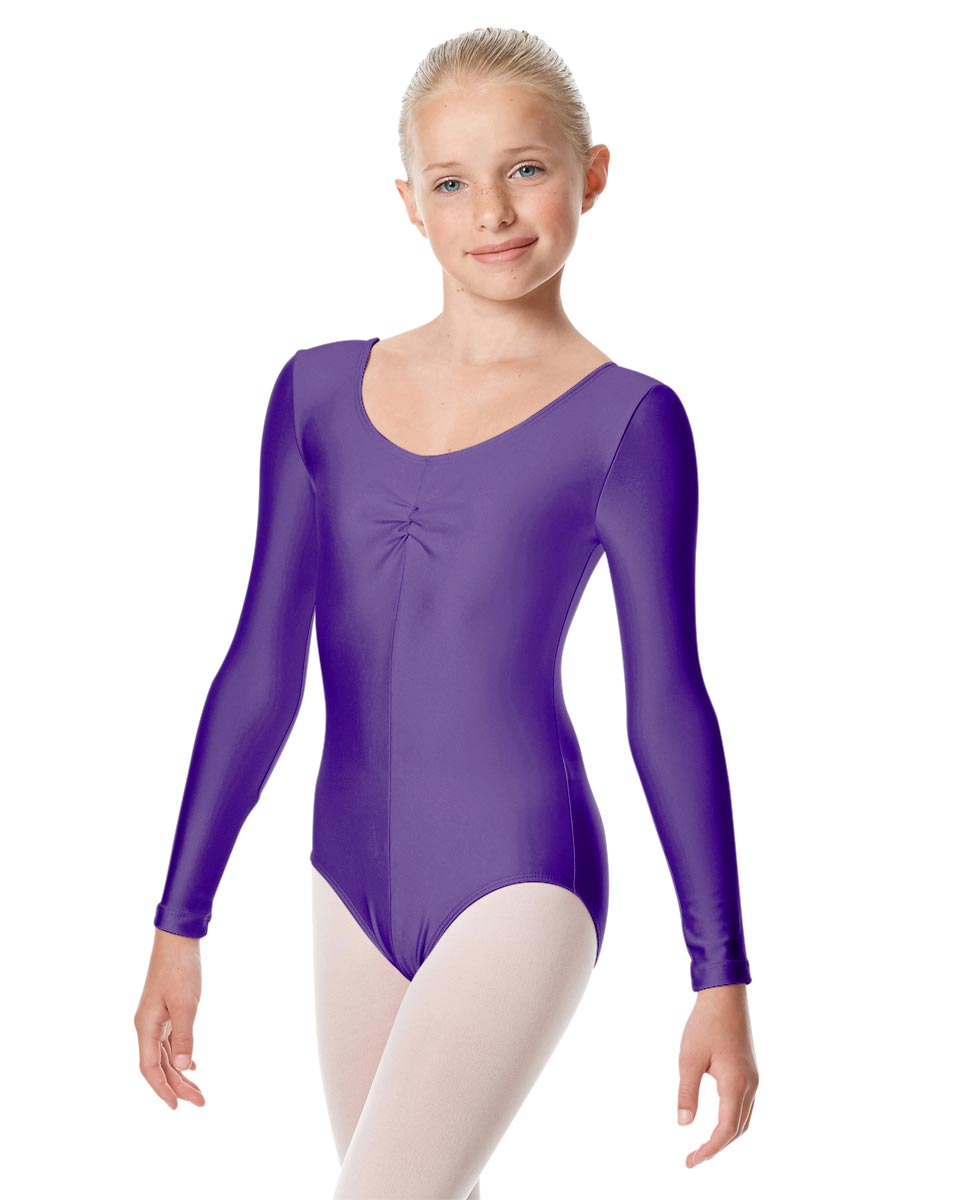 Child Shiny Long Sleeve Pinch Front Ballet Leotard Giselle PUR