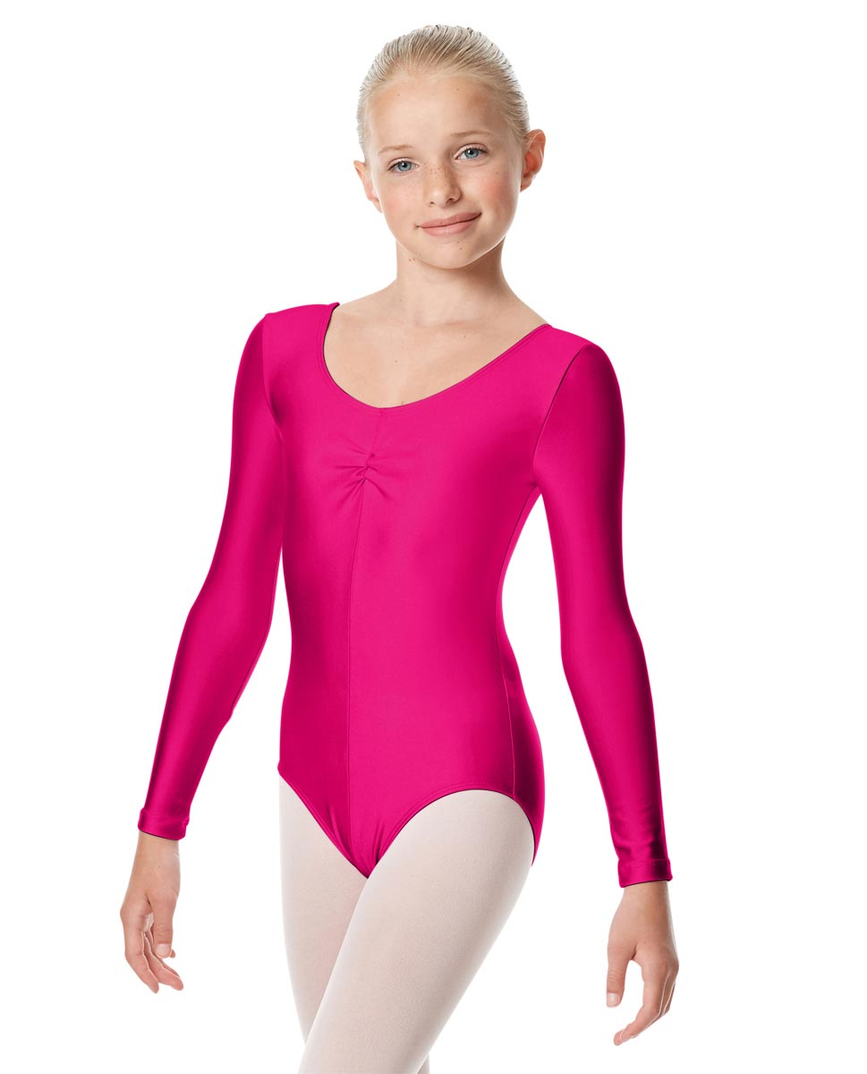 Child Shiny Long Sleeve Pinch Front Ballet Leotard Giselle RAS