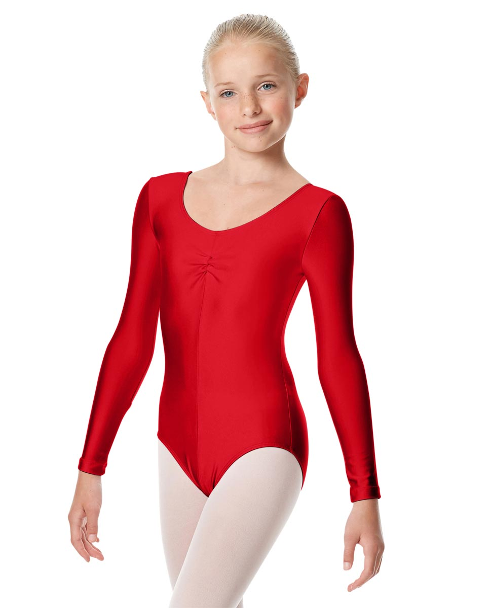 Child Shiny Long Sleeve Pinch Front Ballet Leotard Giselle RED